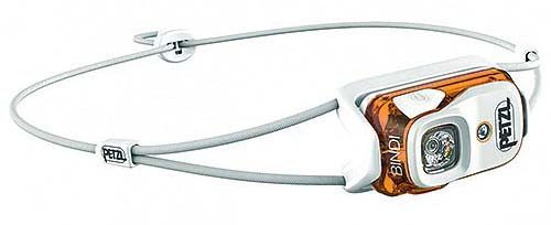 Linterna frontal Petzl Bindi de color blanco y naranja